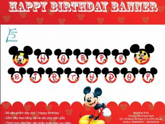 Dây chữ Happy Birthday Mickey